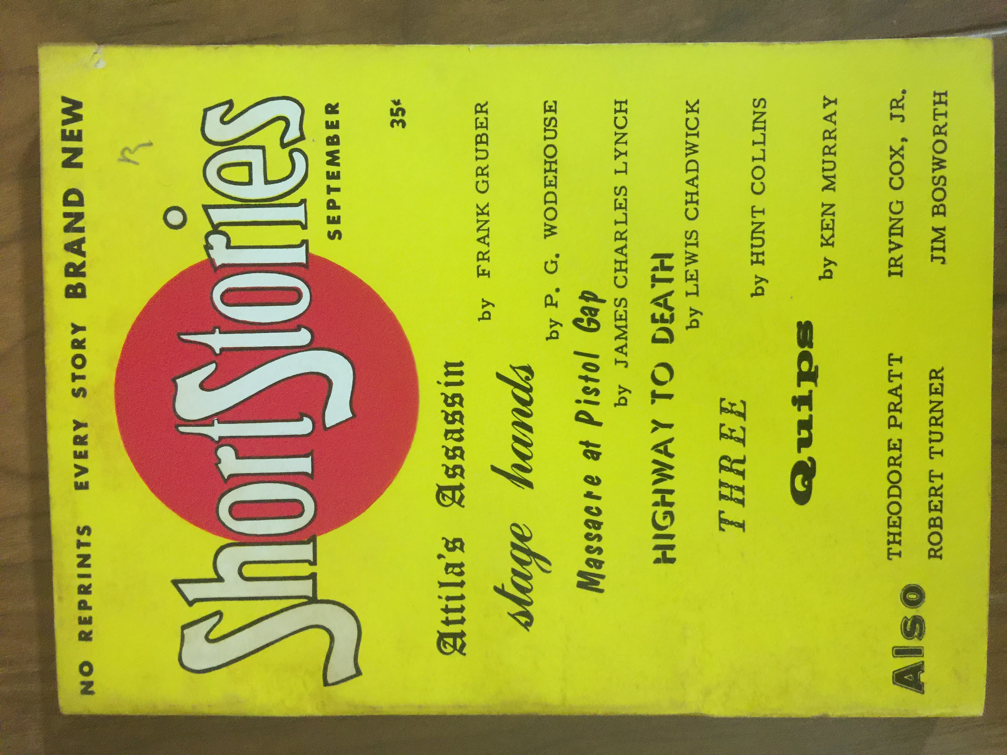 1956 Sep issue of Short Stories resuming after 2 year hiatus, no reprints, new editor M.D. Gregory